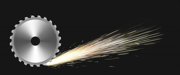 Hoja de sierra circular giratoria con chispas de fuego