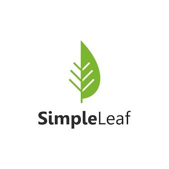 Hoja simple elegante creativo geométrico moderno diseño de logotipo