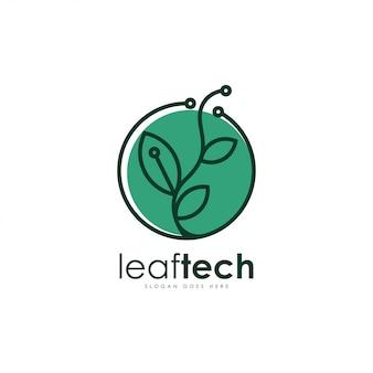Hoja de tecnología del vector logo. plantilla de logotipo de hoja y tecnología.