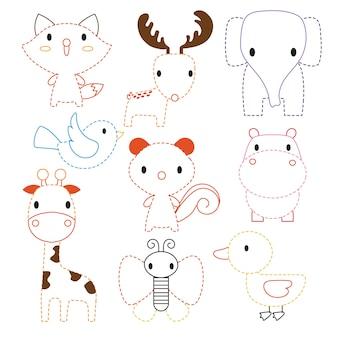 Hoja de trabajo de animales de diseño vectorial.