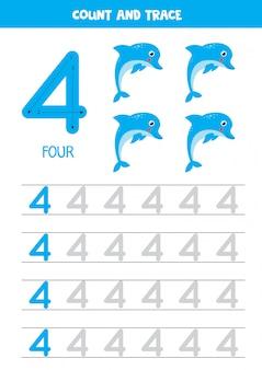 Hoja de trabajo para aprender números con delfines de dibujos animados. número cuatro.