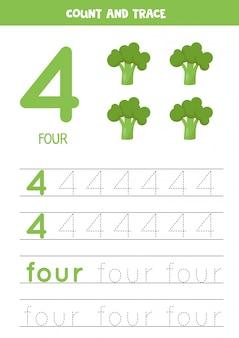Hoja de trabajo para aprender números y letras con brócoli de dibujos animados. número cuatro.