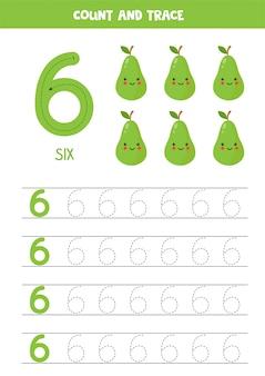 Hoja de trabajo para aprender números con lindas peras kawaii. numero seis.
