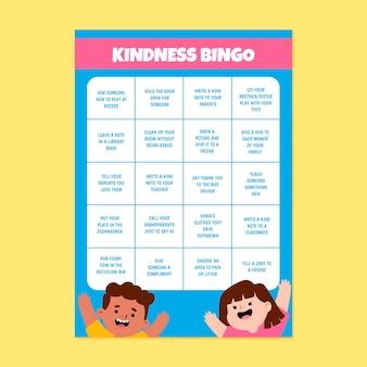 Hoja de trabajo de cartulina de bingo de bondad
