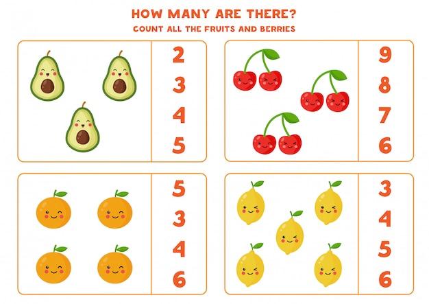Hoja de trabajo de conteo con diferentes frutas y bayas.