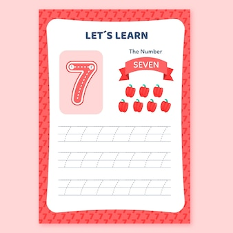 Hoja de trabajo creativa número siete con pimientos rojos