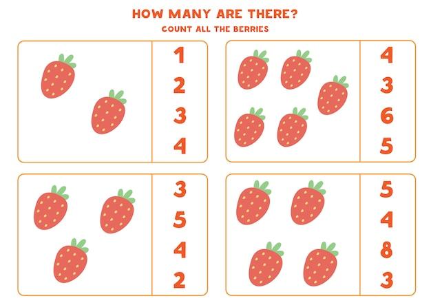 Hoja de trabajo educativo para niños en edad preescolar. contar fresas.