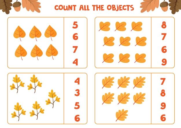 Hoja de trabajo educativo para niños en edad preescolar. cuenta todas las hojas. juego de matematicas