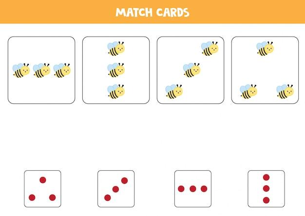 Hoja de trabajo educativo para niños en edad preescolar. haga coincidir las tarjetas con puntos y abejas por cantidad.