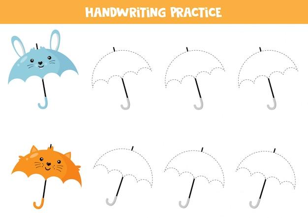 Hoja de trabajo educativo para niños en edad preescolar. práctica de escritura a mano. trazar paraguas.