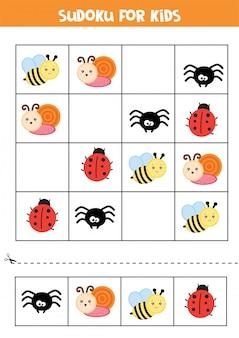 Hoja de trabajo educativo para niños en edad preescolar. sudoku para niños con insectos.