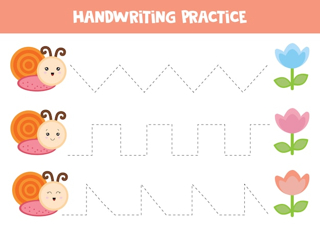 Hoja de trabajo educativo para niños en edad preescolar. trazando líneas. práctica de escritura a mano. caracoles y flores.