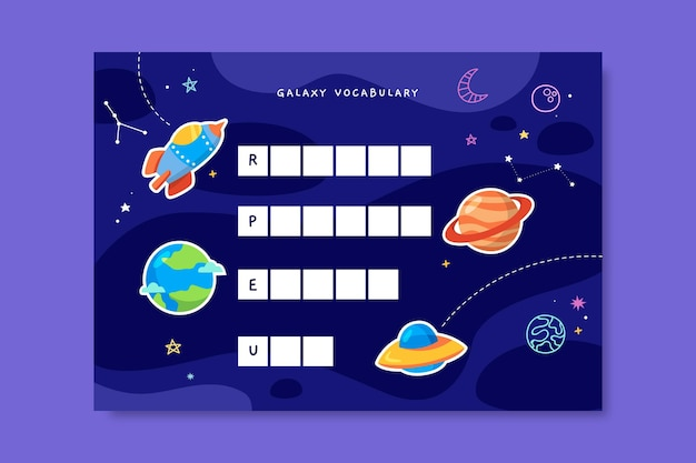 Hoja de trabajo de galaxia de vocabulario colorido creativo