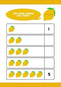Hoja de trabajo de jardín de infantes para niños con linda ilustración de fruta de limón para contar aprender plantilla de educación en el hogar