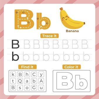 Hoja de trabajo letra b con banana