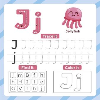 Hoja de trabajo de la letra j con medusas