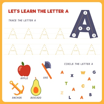 Hoja de trabajo de letra a para niños