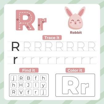 Hoja de trabajo letra r con conejo