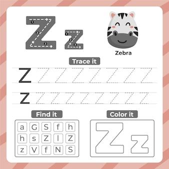 Hoja de trabajo letra z con cebra