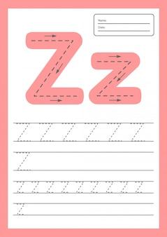 Hoja de trabajo de letras traza a4 para niños en edad preescolar y escolar.