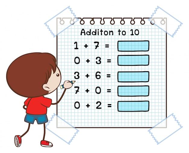 Hoja de trabajo de matemáticas para sumar a diez
