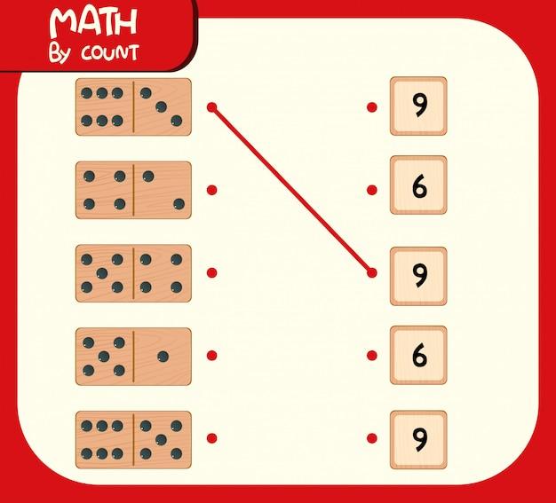 Hoja de trabajo de números coincidentes de dominó