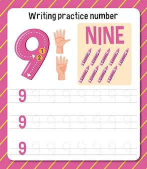 Hoja de trabajo de números de práctica de escritura