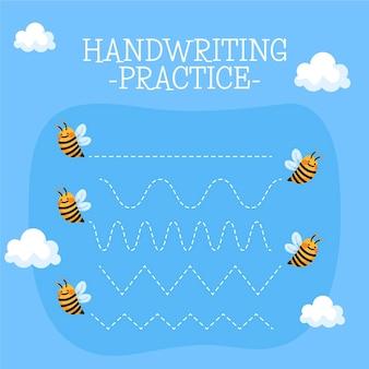 Hoja de trabajo de práctica de escritura a mano con abejas.