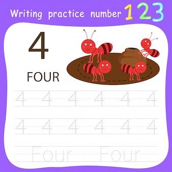 Hoja de trabajo de práctica de escritura número cuatro