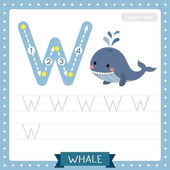 Hoja de trabajo de práctica de rastreo en mayúscula de la letra w. ballena azul