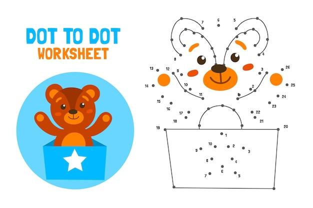 Hoja de trabajo punto a punto con oso