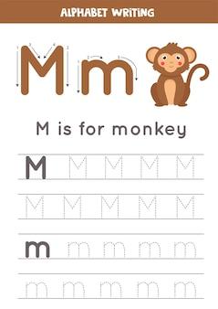 Hoja de trabajo de rastreo alfabético con ilustración de animales