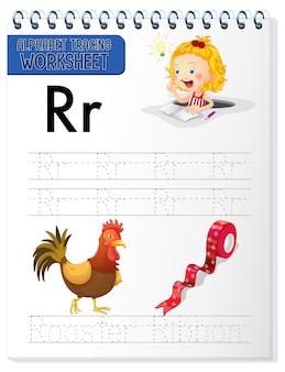 Hoja de trabajo de rastreo alfabético con las letras r y r