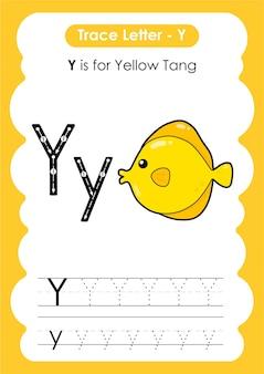 Hoja de trabajo de rastreo del alfabeto educativo con la letra y yellow tang