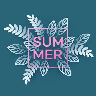 Hoja tropical de verano. estilo de corte de papel.