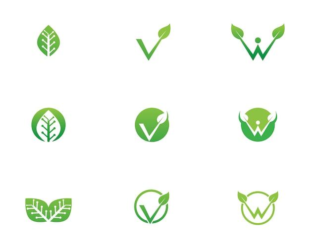 Hoja verde naturaleza logotipo y plantilla de símbolo