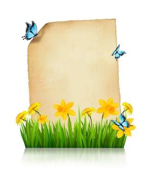 Hoja vieja de papel con flores de primavera y mariposas. vector.