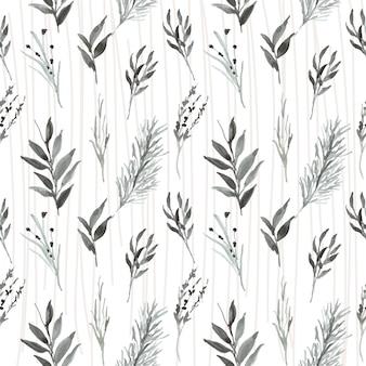 Hoja vintage de patrones sin fisuras con acuarela