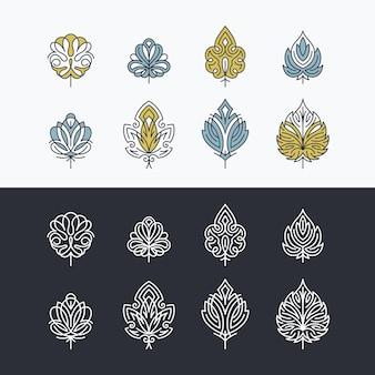 Hojas abstractas de encaje de línea y color, conjunto de símbolos aislados, iconos.