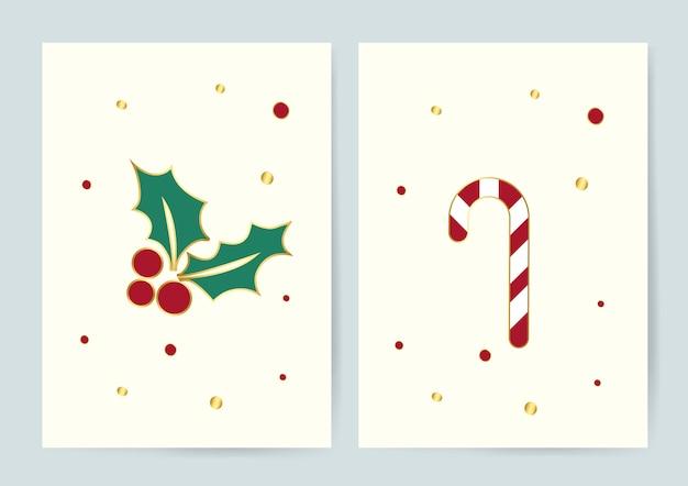 Hojas de acebo y vector de tarjetas de navidad de bastón de caramelo