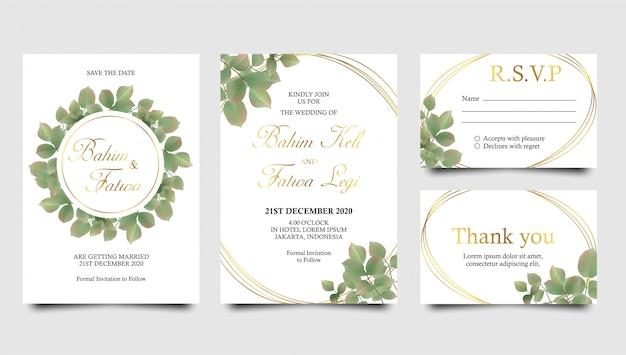 Hojas de acuarela y plantillas de invitación de boda de marco dorado