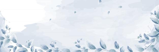 Hojas de acuarela con ramas azules