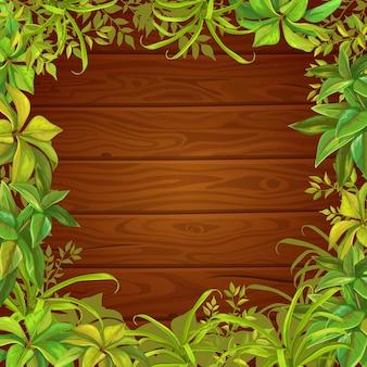 Hojas de árboles, césped y fondo de madera.