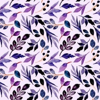 Hojas de azul púrpura de patrones sin fisuras con acuarela