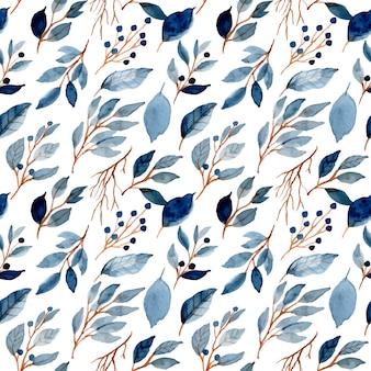 Hojas azules acuarela de patrones sin fisuras