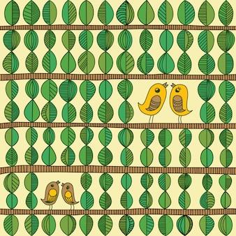 Hojas y biards en un patrón sin fisuras de rama