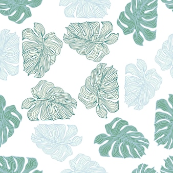 Hojas botánicas mínimas silueta de patrones sin fisuras sobre fondo blanco. telón de fondo de follaje de monstera tropical. diseño para tela, estampado textil, papel de regalo. ilustración vectorial