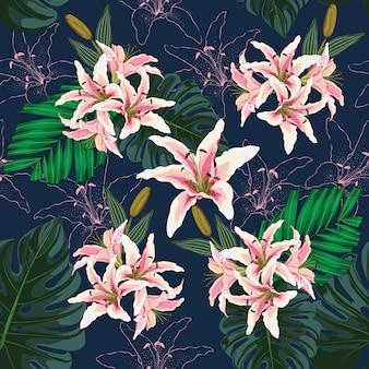 Hojas botánicas de patrones sin fisuras, lilly rosa flores sobre fondo azul oscuro.