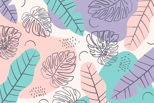 Hojas de color mínimo de fondo de patrón de verano