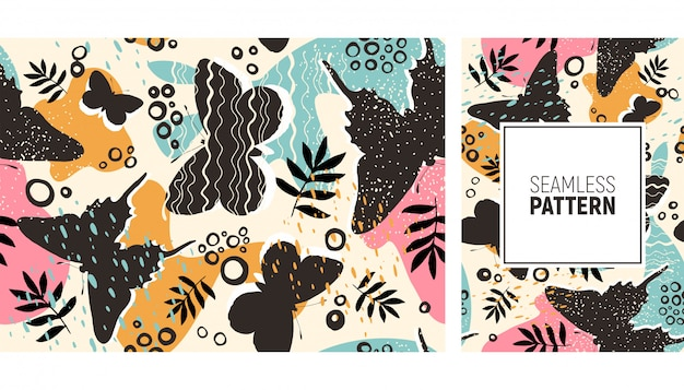 Hojas de color tropical y patrón de mariposas